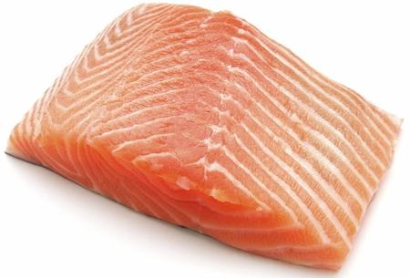fresh salmon steak on white background